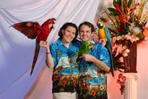 Debbie and phillip with the parrots