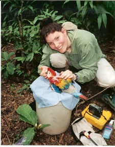Debbie caring for parrot in Tambopata